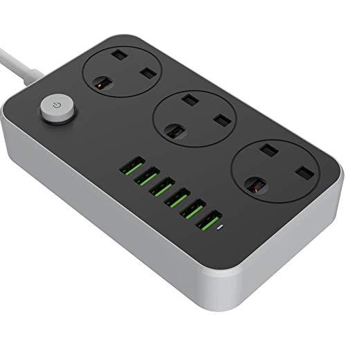 Universele Stekkerdozen Met 2M Vet Verlengsnoer Slimme USB-Oplader Voeding 3-Weg Uitgangen 6 USB-Stekkerpoorten Overspanningsbeveiliging Stopcontactschakelaar Draagbare Oplader