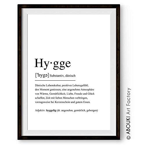 ABOUKI Definition HYGGE 1 einzigartiger Kunstdruck im Wörterbuch-Stil, Fine-Art-Print, Poster, Plakat, Geschenk-Idee