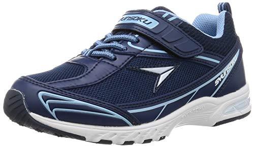 [シュンソク] スニーカー 運動靴 防水 軽量 17~26cm 2E キッズ 男の子 女の子 SJJ 4910 ネイビー/サックス 24 cm