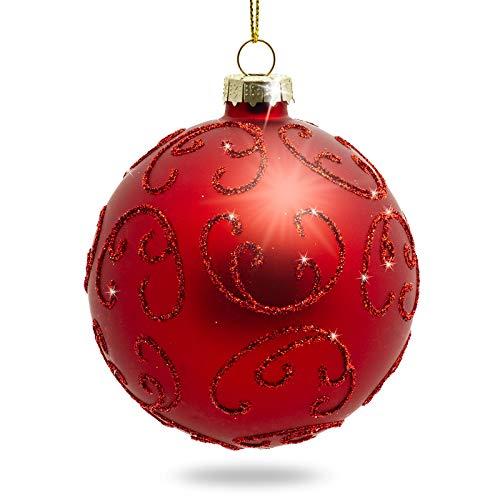 Sikora Highlights 4er Set ausgefallene Christbaumkugeln aus Glas Rot, Größe:8 cm, Farbe/Modell:Modell Florenz rot