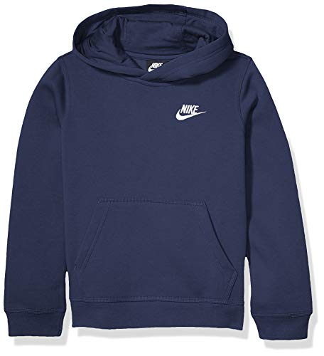 NIKE B NSW Club Po Hoodie Sweatshirt, Niños, Midnight Navy/ White, L