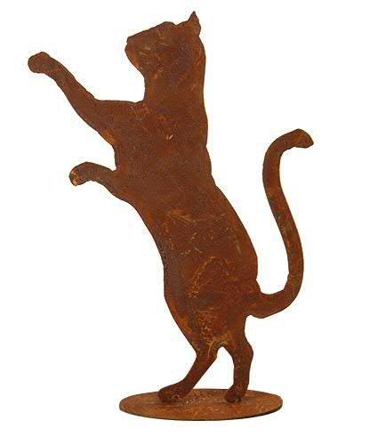 Rostiges Gartentier - Edelrost Tier: Stehende Katze auf Platte - Höhe 50cm - Rost Dekoration/Dekokatze/Katzendekoration