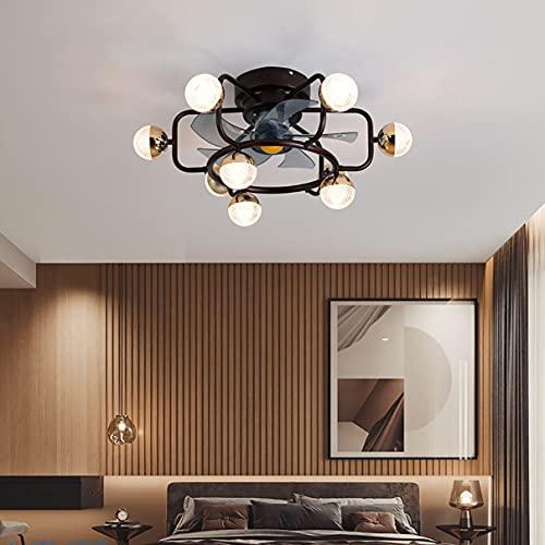MYYINGBIN Lampara Ventilador Techo Ultra Silencioso Luz Ventilador Techo con Mando Luces Led Lámpara Techo Colgante Regulable Iluminación Interior Velocidad del Viento Ajustable Dormitorio,Negro