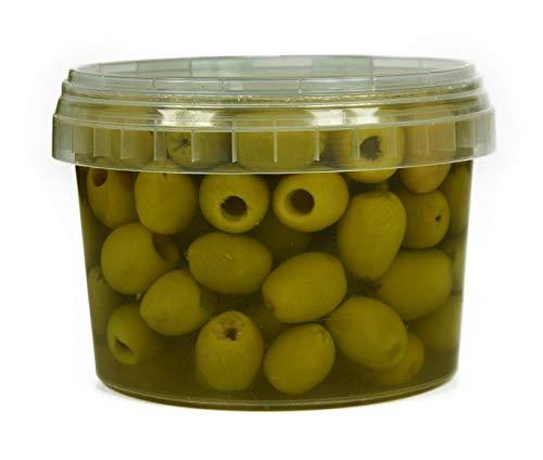 Hymor grüne Oliven entsteint - 6x 325g Behälter - Oliven aus Marokko ohne Stein Marokkanische Olive eingelegt in Lake vegan, glutenfrei, zu Tapas, Salaten, beim Kochen