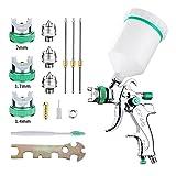 Y-KINZ HVLP Spray Gun Set,Automotive Paint Spray Paint Gun, 3 Nozzles 1.4 mm 1.7 mm 2.0 mm 600cc Cup,Air Spray Gun Automotive Hvlp Paint Sprayer