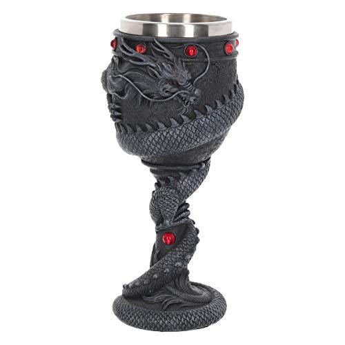 Nemesis Now Dragon - Copa de Vino (22 cm, Resina, Inserto de Acero Inoxidable), Color Negro