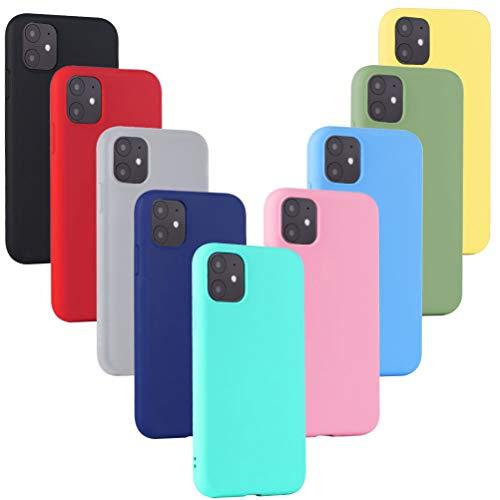 XinYue 9 x Cover per iPhone 11, Custodia Ultra Sottile Silicone Protettiva Cover per iPhone 11 (6.1) -   Nero + Rosso + Traslucido + Blu + Verde Menta + Rosa + Azzurro + Verde + Giallo]
