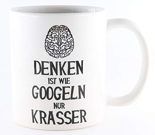 PICSonPAPER Tasse Denken ist wie Googeln nur krasser, Gehirn, Use Your Brain, Kaffeetasse, Keramiktasse