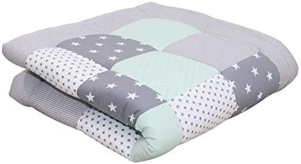 Soft Padded Baby Play Mat Thick by ULLENBOOM 47 x 47 Star Polka Dot Infant Activity Blanket product image
