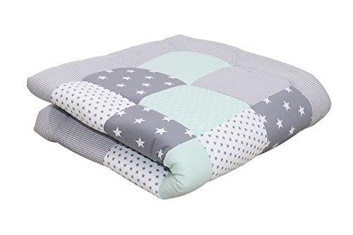Alfombra para gatear de ULLENBOOM  con menta gris (manta para bebé de 120x120 cm; ideal como colcha para el cochecito; apta como alfombra de juegos)