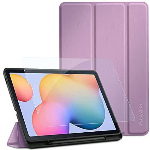 EasyAcc Hülle Kompatibel mit Samsung Galaxy Tab S6 Lite 2020 mit Panzerglas - Ultra Dünn mit Standfunktion Slim PU Leder Schutzhülle Passt für Tab S6 Lite 10.4 Zoll SM-P610N/P615N Lila