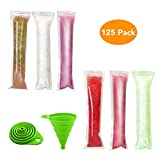 Popsicle Molds, McoMce 125 Disposable Ice Pop Molds, Food Grade Popsicle Maker Ice Candy Plastic Bags with Zip Seals, DIY Ice Pop Bags for Yogurt Ice Candy Otter Pops Freeze Pops, Comes with 1 Funnel