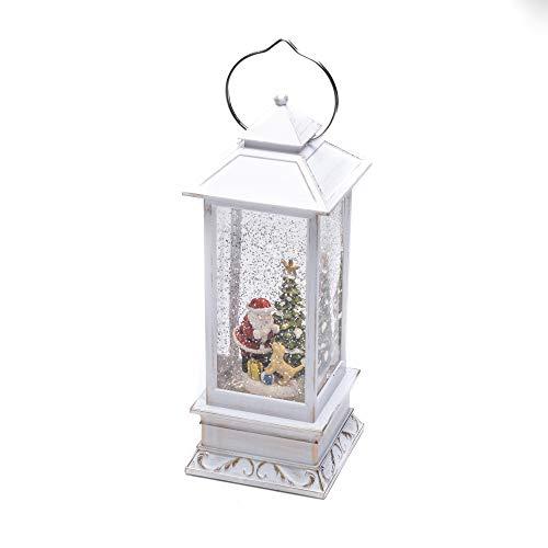 Konstsmide - Lanterna LED con Palla di Vetro e Neve, Scena di Babbo Natale e Cane, Large 27cm