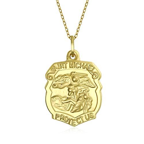 Medalla Religiosa De Oro Real De 14 Quilates San Miguel Para Protección Escudo Colgante Collar Para Hombres
