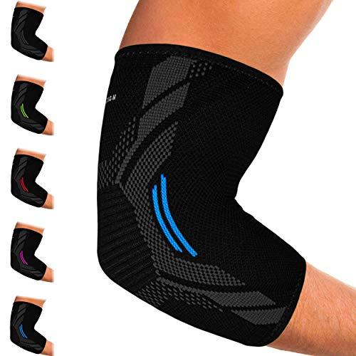 Kinetic Evolution Ellenbogenbandage für Damen und Herren, Sport Kompression, Atmungsaktiv, stabilisiert und unterstützt, Sportbandage für Tennis Voleyball Golf Handball (XL, Blau)