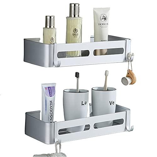 Estantes de baño sin Taladro Yeegout con Ganchos extraíbles, Almacenamiento de Carrito de Ducha Adhesivo de Aluminio (Cuadrado Plateado)
