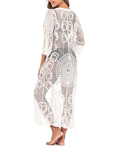 iWoo Sexy Kimonos Vesten voor Vrouwen, Strand Zonnebrandcrème Lange Kimono & Kant Gehaakte Bloemenperspectief Cover Ups Strandkleding