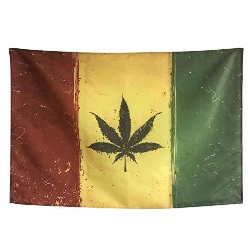 XURANFANG Rode, gele en groene Reggaetapisserie, decoratieve opgehangen vlaggen, barrestaurant, studioruimte, achtergrondstok 190 x 125 cm Cross Section.