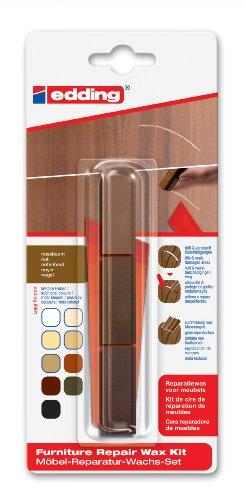 edding 8901 Möbel-Reparatur-Wachs-Set - 3 mischbare Farben - nussbaum - Zum Entfernen von Kratzern und Schrammen auf Möbeln und Holz
