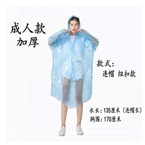 Wegwerp regenponcho waterdicht,Geïntegreerde transparante draagbare regenjas, noodponcho-blauwe dikke button_10,Portable Adult Translucent Hooded Rain