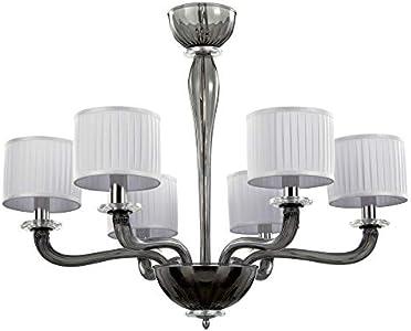 Lámpara de techo de cristal y pantallas de cristal Murano color gris, pantallas blancas, cristal moderno Murano chandelier Grey