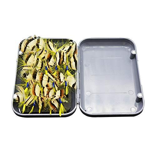 Fliegenfischen mit Fliegenbox, lebhafte Fliegen, Schmetterling, Angelköder, Barsch, Forelle, Lachs, Gelb, 20 Stück