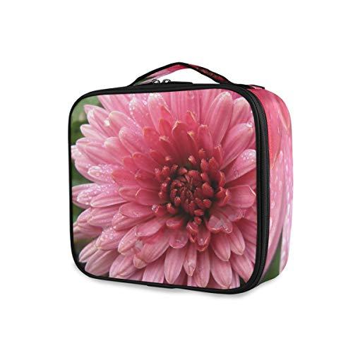 Chrysanthème Fleur Rose Blossom Trousse de Maquillage Professionnelle Organisateur Portable Maquillage Trousse de Toilette Maquillage Sac de Voyage pour Femme