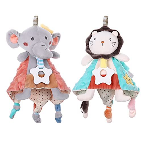 Yoofoss Security Blanket 2 Pieces Baby Plush Blanket with Stuffed Animal Snuggle Lovey Blanket Teether Toys for Boys Girls