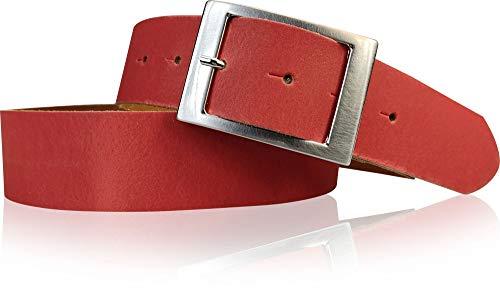 FRONHOFER Gürtel Damen 4 cm, Taillengürtel, Hüftgürtel aus echtem Leder, silberne Schnalle 17575, Größe:Körperumfang 105 cm / Gesamtlänge 120 cm, Farbe:Rot