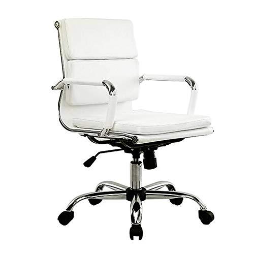 Stühle CJC Mitte Zurück Gerippt PU Leder Schwenken Einstellbar Designer Boss Manager Büro Konferenz Zimmer Arbeit Aufgabe (Farbe : Weiß)