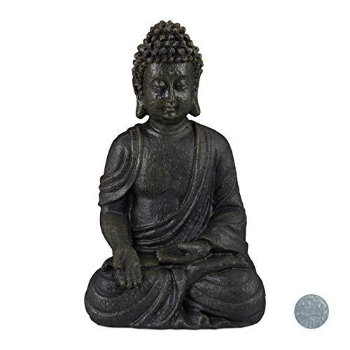 Relaxdays Buddha Figur sitzend 18cm, Dekofigur für Wohnzimmer und Bad, feuchtigkeitsresistent, Kunststein, dunkelgrau