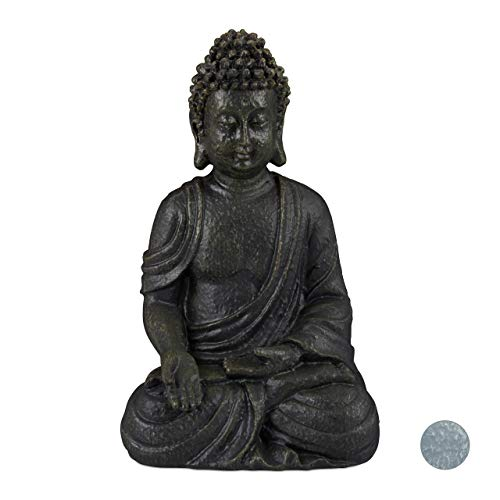 Relaxdays, Gris Oscuro, Estatua Buda Sentado para Jardín o Salón, Resina Sintética, 30 cm