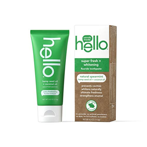 Hello Vegan Fluoride Toothpaste, Moisturizing Hemp Seed Oil + Coconut Oil, Super Fresh Family Farmed Spearmint, Naturally Whitening Toothpaste, Helps Remove Plaque, 4 Ounce