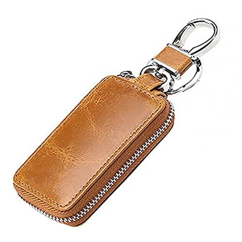 MiOYOOW Auto Schlüsselanhänger Tasche, Echtes Leder Schlüsseltasche Auto Schlüsselmäppchen Auto Funkschlüssel Halter Schlüssel Kasten, 8.5x2x4cm