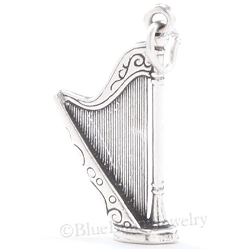 3D HARP Celtic Music Ireland Irish Charm Pendant Solid .925 Sterling Silver Jewelry Making Supply Pendant Bracelet DIY Crafting by Wholesale Charms