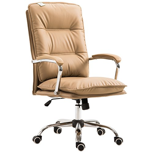 HomCom High Back PU Leather Executive Home Office Chair with Lumbar Support - Light Tan