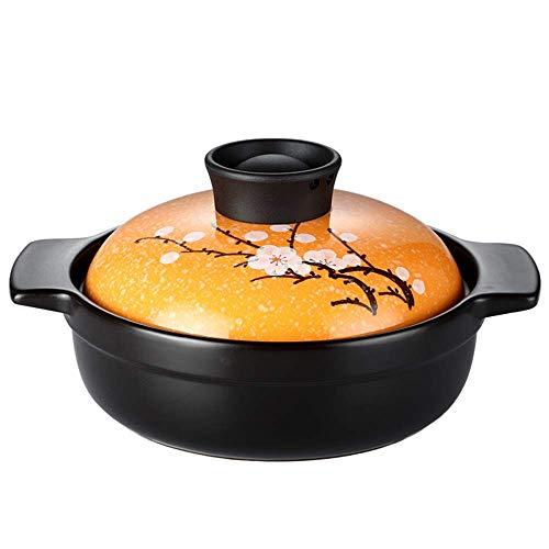 WEHOLY Auflauf Haushalt Offene Flamme Claypot Reis Auflauf/Keramik Verbrühschutz Multifunktions Bibimbap Steintopf/Hitzebeständige Praktische Bratpfanne (Farbe: Gelb)