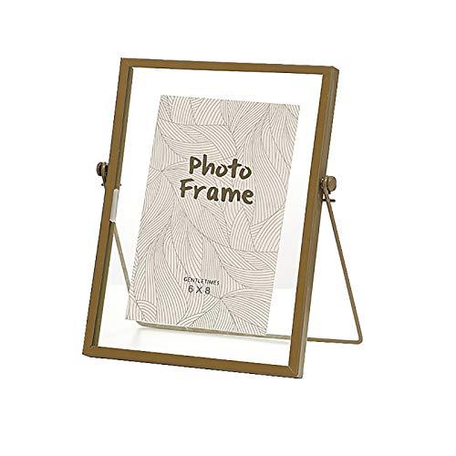 VANRA - Cornice portafoto in metallo con vetro ad alta definizione, 15 x 20 cm, colore: Oro