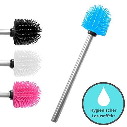 KLINOO Premium Silikon WC-Bürste blau mit Lotuseffekt - Bürstenkopf mit Edelstahl Griff - rostfreie Klobürste - Ersatztoilettenbürste - Ersatzklobürste (Blau, 1)