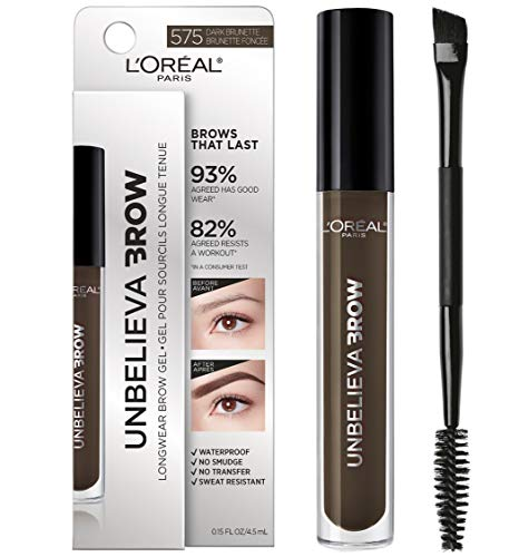 L'Oreal Paris Unbelieva-Brow Tinted Brow Makeup, Longwear, Waterproof Brow Gel, Sweat Resistant, Transfer Proof, Fills and Thickens Brows, Enhanced up to 48 Hours, Dark Brunette, 0.15 fl. Oz.