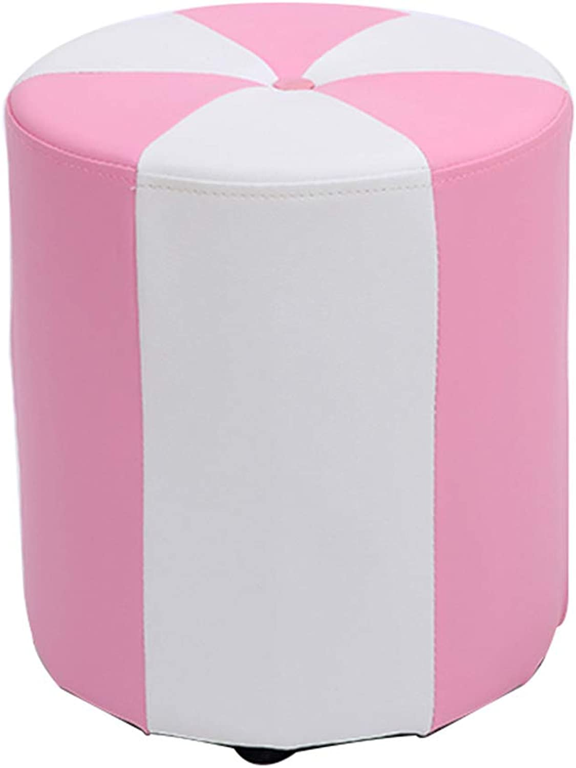 Step Stool,Household Vanity Stool,Wooden Frame Stable and Durable,Anti-Slip Footstool for Adults and Kids,Pink