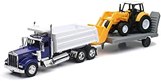 Kenworth W900 Dump Truck w/ Wheel Loader & Trailer NEWRAY DIecast 1:32