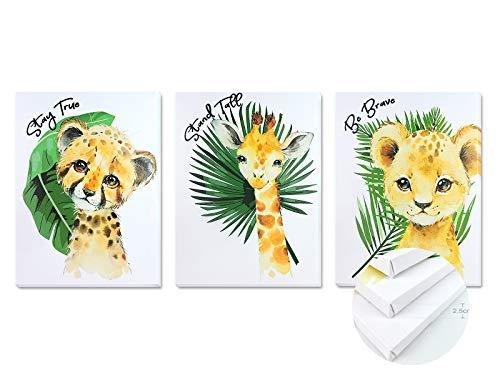 Pack 3 Tríptico cuadros con marco decorativos de lienzo impreso infantiles para decoración pared habitación dormitorio niños con bastidor de madera - 3 cuadros tamaño 30x40cm (Selva)