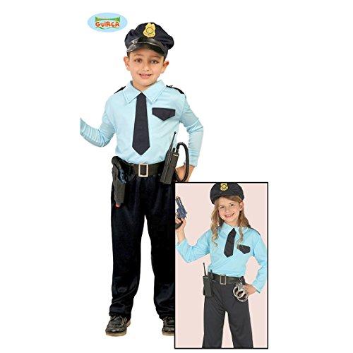Amakando Polizist Kostüm Kind - 7 - 9 Jahre, 127 - 132 cm - Polizeiuniform Kinder Polizistin Karnevalskostüm Politesse Outfit Wachtmeister Faschingskostüm Polizei Kinderkostüm