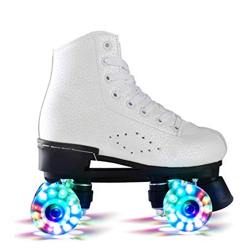 Pinkskattings@ Rollschuhe Disco Roller Kinder Mädchen Mit Glitzer Double Row Skates Erwachsene Rollschuhe Roller Figure Quad Skates,Weiß,38