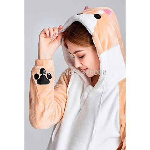 BAYUE Super Kawaii Shiba Inu Pijama de Franela Suave para Mujer, Unisex, con Capucha, diseño de Animales, para Invierno, Franela, Doge Jumpsuit, XX-Large