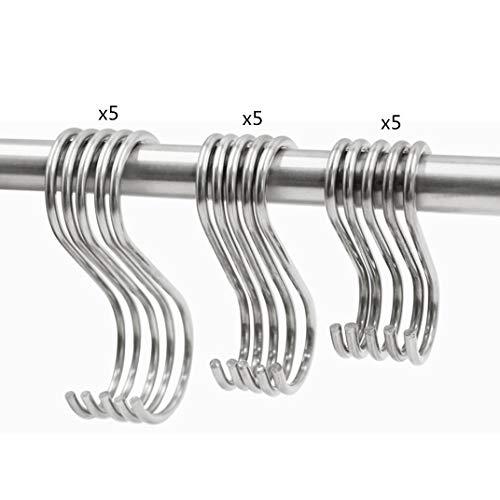 Ganchos en forma de S, de acero inoxidable, tamaño mixto, 7,5 cm, 9 cm y 11 cm, para colgar en la cocina, el cuarto de baño