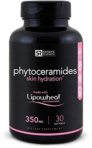 Phytoceramides 350mg Made with Clinically Proven Lipowheat®   Plant Derived and GMO Free with No Fillers or Synthetic Vitamins - 30 Liquid softgels