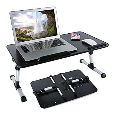 8AM Adjustable Laptop Stand Portable Laptop Table with Foldable Legs Notebook Computer Desk for Laptop Reading and Writing Lap Tray for Eating in Bed Sofa Couch Floor (Large, Black)