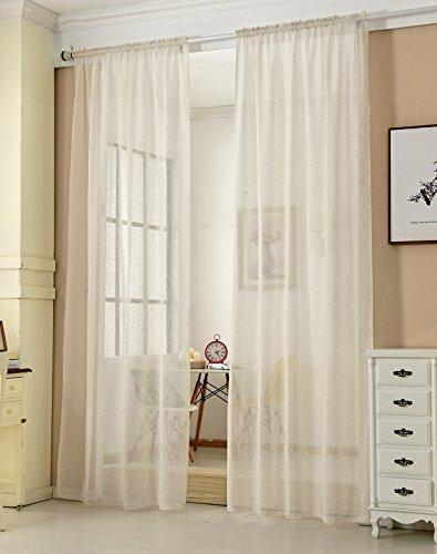 Transparente Gardine mit Kräuselband 2 Stücke Fensterschal in Leinen-Optik Dekoschal in Creme 140x225 cm Fenstervorhang für Schlafzimmer Kinderzimmer Küche Stores Vorhang